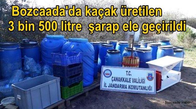 Bozcaada'da kaçak üretilen 3 bin 500 litre şarap ele geçirildi