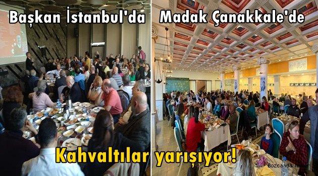 Seçim kahvaltıları sürüyor: Yılmaz İstanbul'da, Madak Çanakkale'deydi